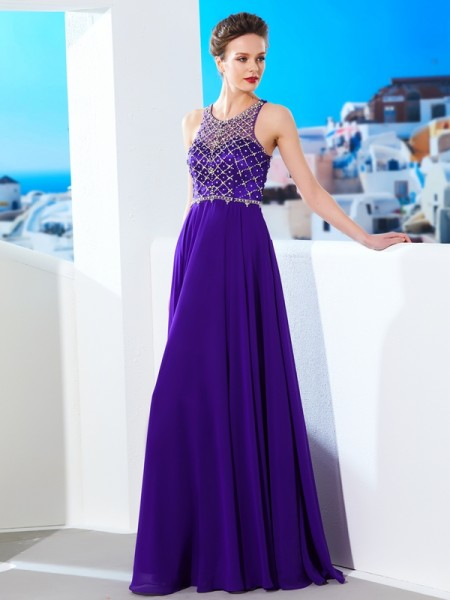 A-Line/Princess Sleeveless Crystal Chiffon Floor-Length Dresses