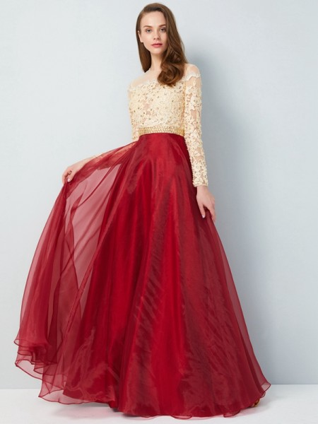 A-Line/Princess Organza Long Sleeves Applique Floor-Length Dresses