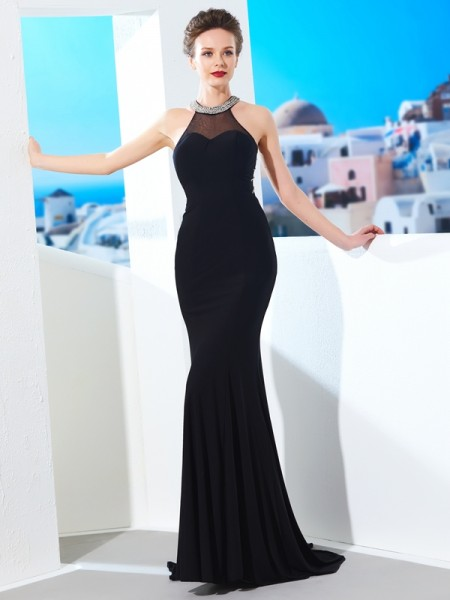 Sheath/Column Spandex Sleeveless Beading Sweep/Brush Train Dresses