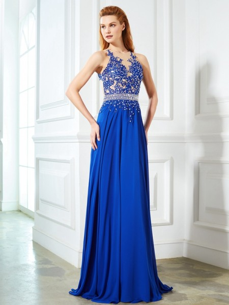 A-Line/Princess Chiffon Sleeveless Applique Sweep/Brush Train Dresses