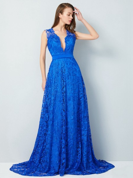 A-Line/Princess Lace Bowknot Sleeveless Sweep/Brush Train Dresses
