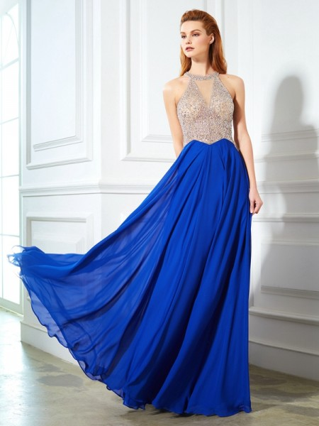 A-Line/Princess Chiffon Crystal Floor-Length Sleeveless Dresses