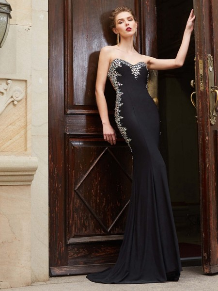 Sheath/Column Spandex Sleeveless Sequin Sweep/Brush Train Dresses