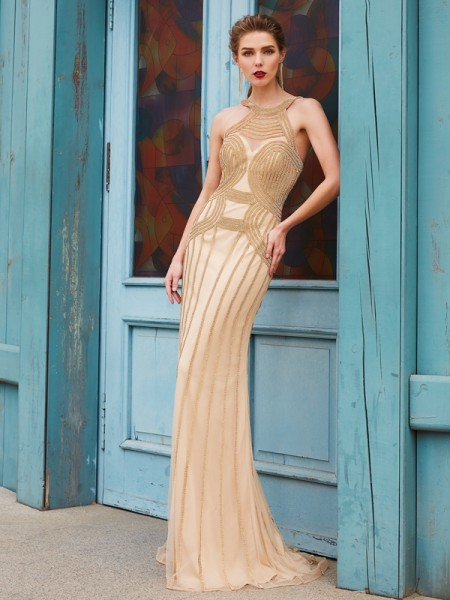 Sheath/Column Net Beading Sleeveless Sweep/Brush Train Dresses