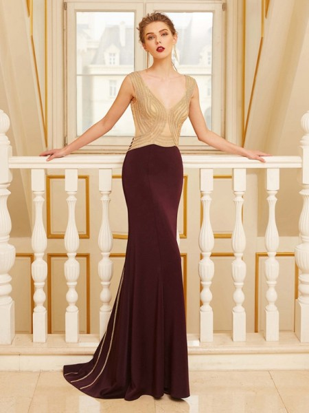 Sheath/Column Jersey Beading Sleeveless Sweep/Brush Train Dresses