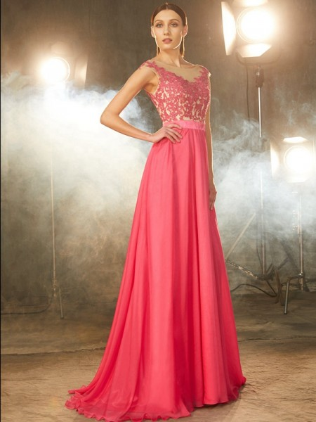 A-Line/Princess Chiffon Applique Sweep/Brush Train Sleeveless Dresses