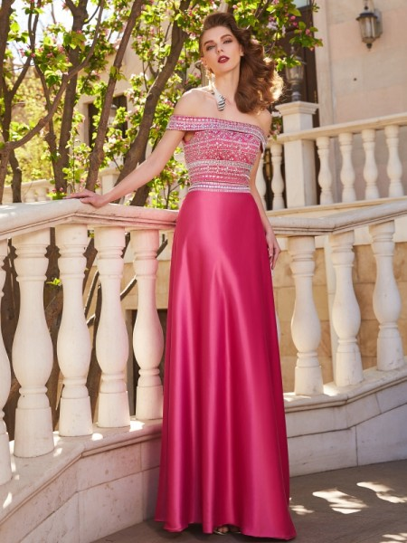 A-Line/Princess Satin Beading Sleeveless Floor-Length Dresses