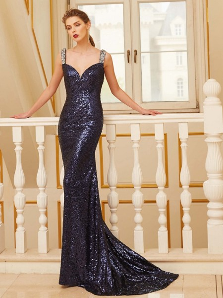 Sheath/Column Sequins Sleeveless Sweep/Brush Train Beading Dresses