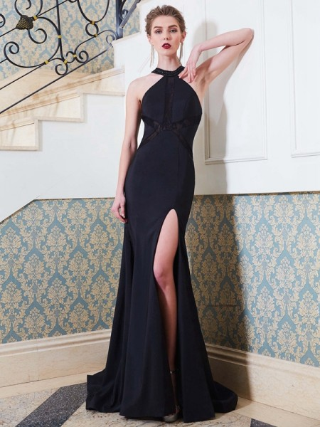 Sheath/Column Elastic Woven Satin Beading Sweep/Brush Train Sleeveless Dresses
