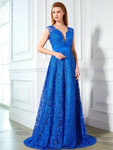A-Line/Princess Lace Sleeveless Bowknot Sweep/Brush Train Dresses