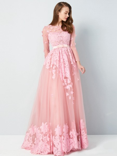 A-Line/Princess Tulle 3/4 Sleeves Applique Floor-Length Dresses