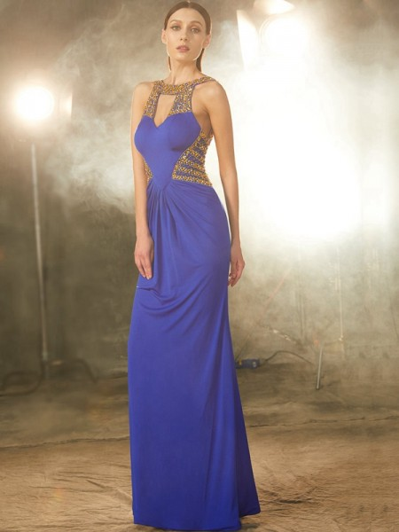 Sheath/Column Spandex Sleeveless Beading Floor-Length Dresses