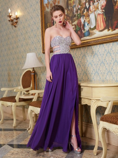 A-Line/Princess Chiffon Sleeveless Floor-Length Crystal Dresses