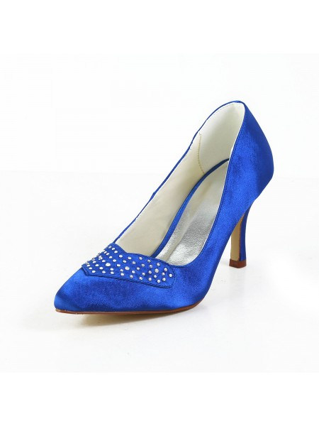 Women's Charming Satin Stiletto Heel Closed Toe High Heels With Rhinestone