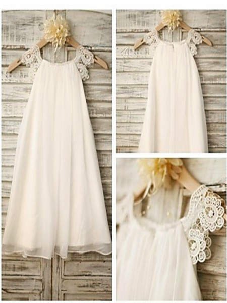 A-Line/Princess Scoop Lace Sleeveless Ankle-Length Chiffon Flower Girl Dresses
