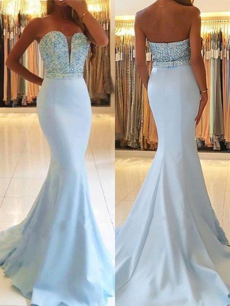Trumpet/Mermaid Sleeveless Sweetheart Sweep/Brush Train Beading Satin Dresses