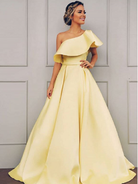 A-Line/Princess Sleeveless One-Shoulder Floor-Length Ruffles Satin Dresses