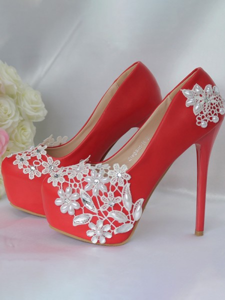 Women's PU Closed Toe Stiletto Heel With Flower Platforms Shoes