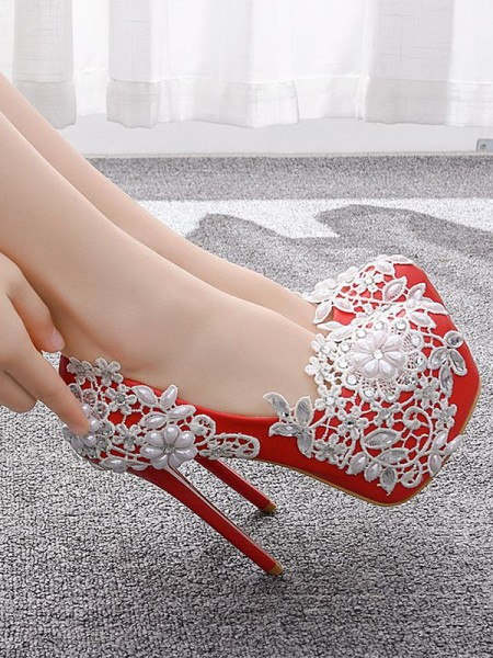 Women's PU Closed Toe With Flower Stiletto Heel Platforms Shoes