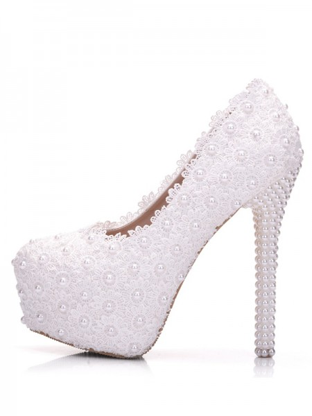 Women's PU With Flower Stiletto Heel Closed Toe Platforms Shoes