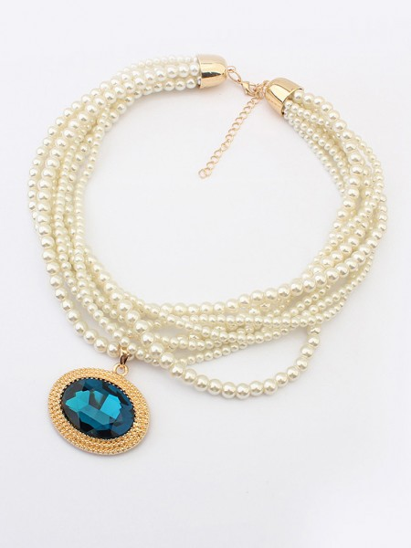 Occident Palace Retro Big Gemstone Pearls Hot Sale Necklace
