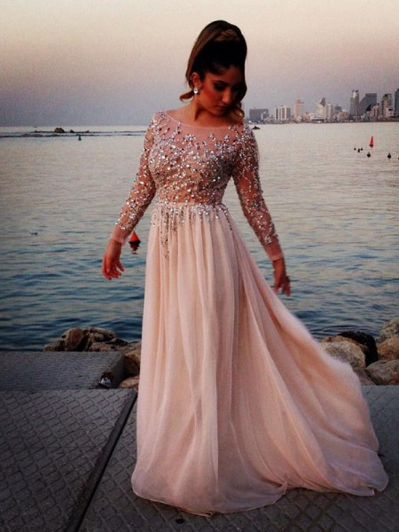 A-Line/Princess Chiffon Long Sleeves Beading Sweep Train Dresses