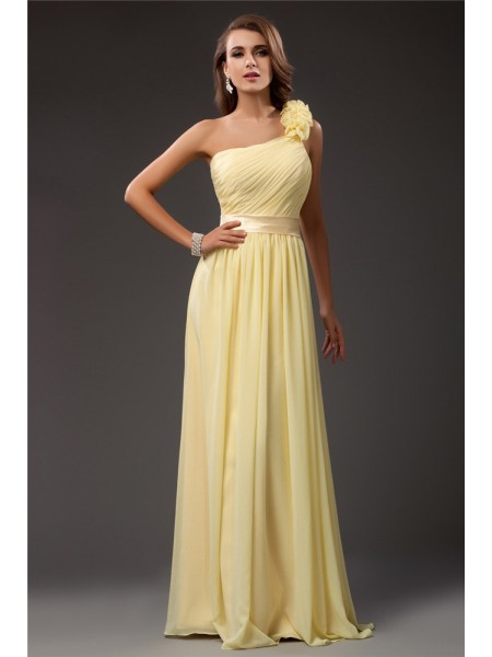 Sheath/Column Chiffon Ruffles Sleeveless Floor-Length Dresses