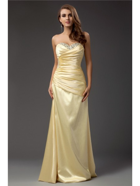 Sheath/Column Taffeta Sleeveless Beading Floor-Length Dresses