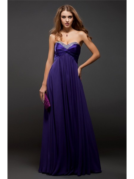 Sheath/Column Chiffon Sleeveless Beading Floor-Length Dresses