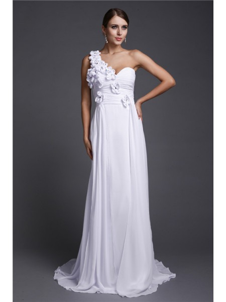 A-Line/Princess Chiffon Hand-Made Flower Sleeveless Sweep/Brush Train Dresses