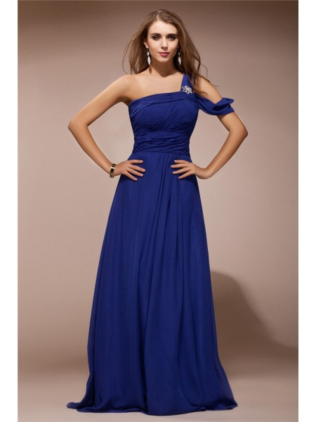 Sheath/Column Chiffon Ruffles Floor-Length Sleeveless Dresses