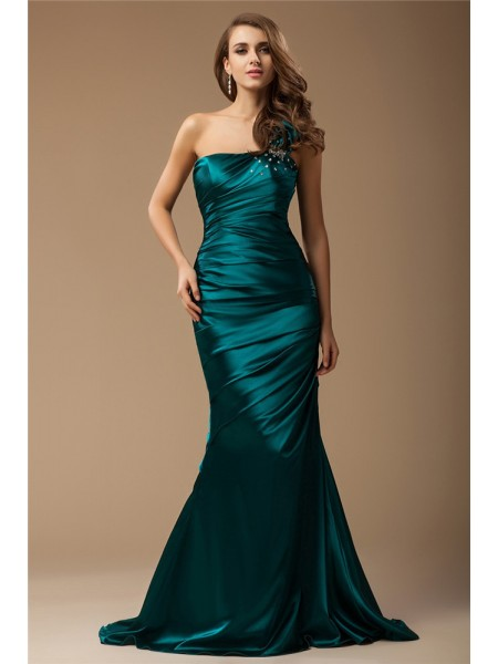 Trumpet/Mermaid Elastic Woven Satin Beading Sweep/Brush Train Sleeveless Dresses