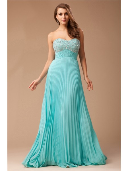 Empire Chiffon Beading Sleeveless Floor-Length Dresses