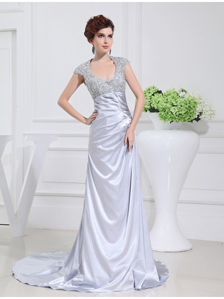 A-Line/Princess Elastic Woven Satin Sweep/Brush Train Beading Sleeveless Dresses