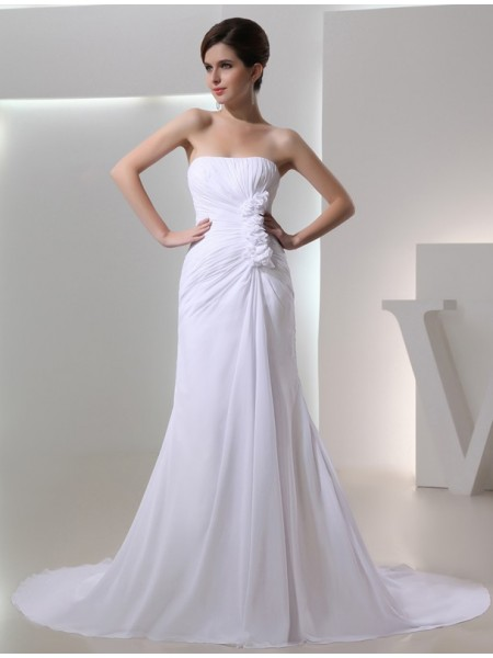 A-Line/Princess Chiffon Beading Chapel Train Sleeveless Wedding Dresses