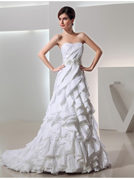 A-Line/Princess Taffeta Sleeveless Court Train Beading Wedding Dresses