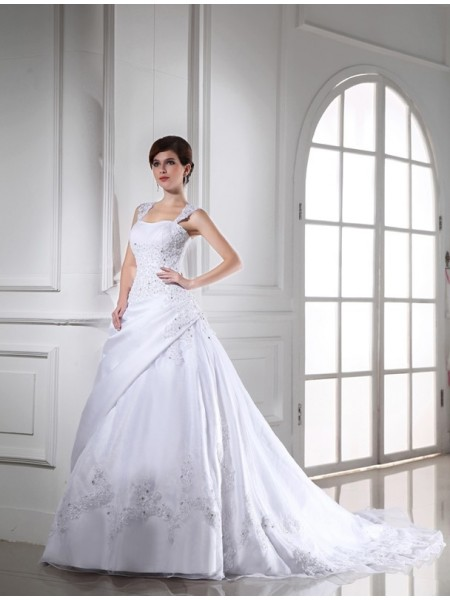 Ball Gown Satin Sleeveless Chapel Train Beading Wedding Dresses