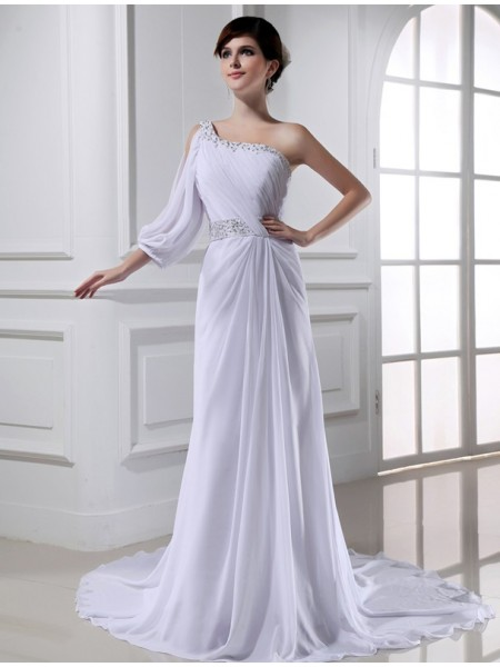 A-Line/Princess Chiffon Sleeveless Beading Court Train Wedding Dresses