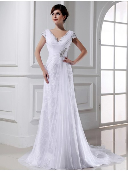 A-Line/Princess Tulle Sleeveless Beading Court Train Wedding Dresses
