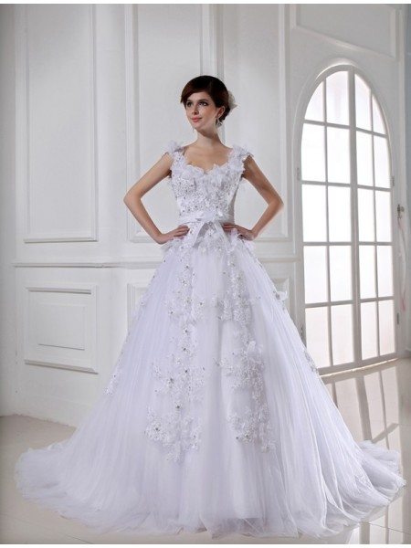 Ball Gown Satin Beading Chapel Train Sleeveless Wedding Dresses