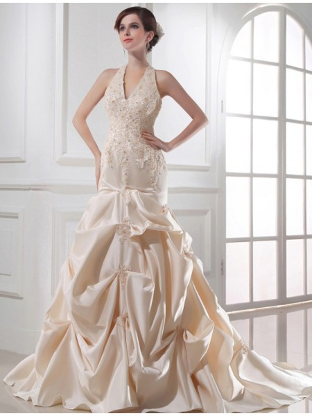 Trumpet/Mermaid Satin Applique Sleeveless Chapel Train Wedding Dresses