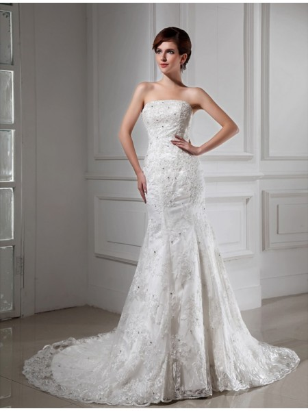 Trumpet/Mermaid Satin Sleeveless Beading Chapel Train Wedding Dresses
