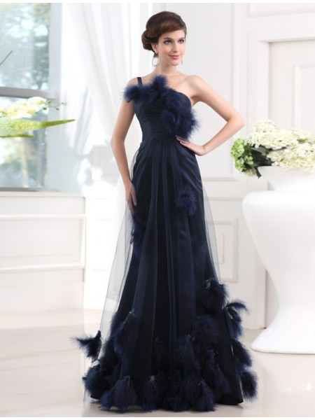 Trumpet/Mermaid Satin Feathers/Fur Sleeveless Floor-Length Dresses