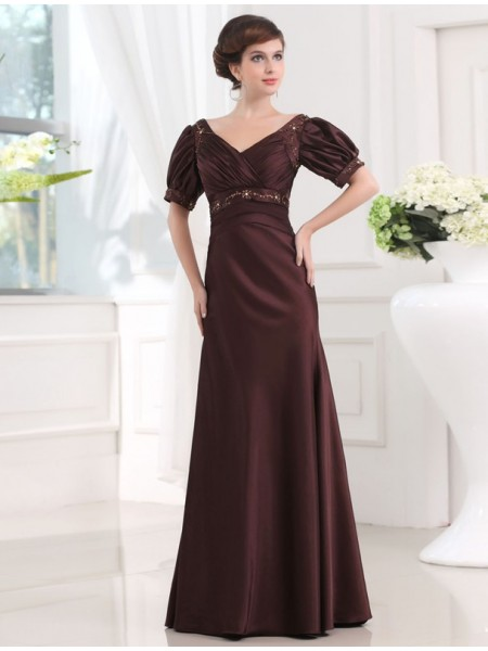 Sheath/Column Satin Beading 1/2 Sleeves Floor-Length Dresses