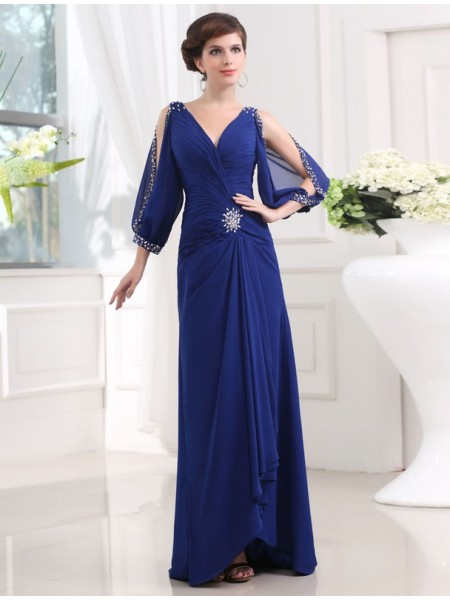 Sheath/Column Chiffon Beading 3/4 Sleeves Floor-Length Dresses