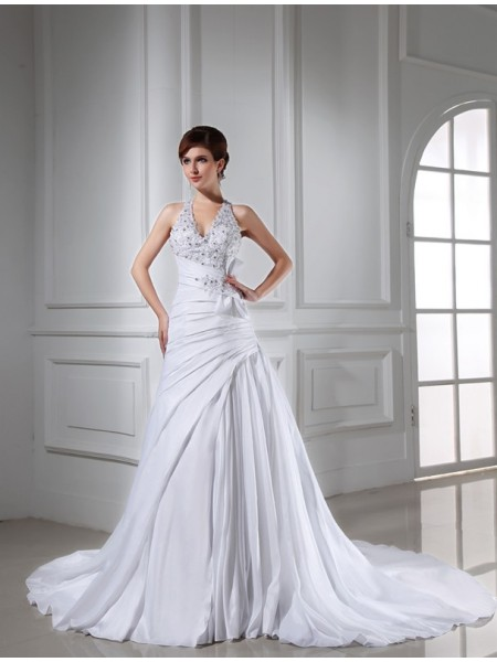 A-Line/Princess Taffeta Chapel Train Beading Sleeveless Wedding Dresses