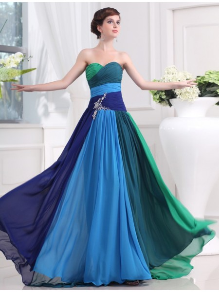 A-Line/Princess Chiffon Beading Sweep/Brush Train Sleeveless Dresses