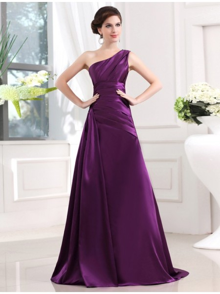 A-Line/Princess Elastic Woven Satin Sleeveless Pleats Sweep/Brush Train Dresses