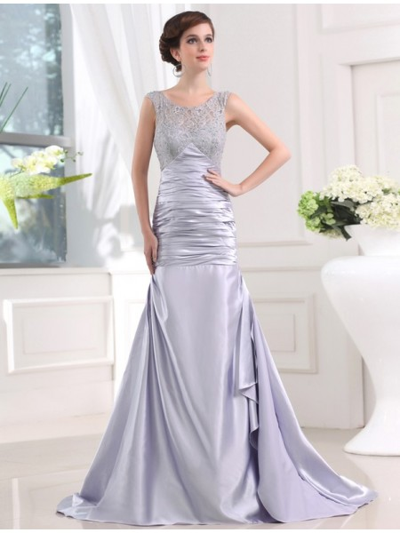 Trumpet/Mermaid Elastic Woven Satin Sleeveless Sweep/Brush Train Beading Dresses