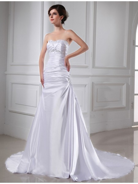A-Line/Princess Elastic Woven Satin Beading Chapel Train Sleeveless Wedding Dresses